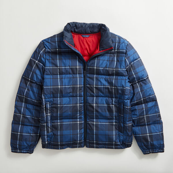 PLAID TEMPASPHERE BOMBER - Navy
