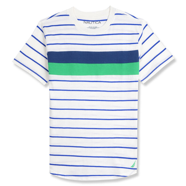 Little Boys' Robbie Striped Crewneck Tee (4-7),Chalk,large