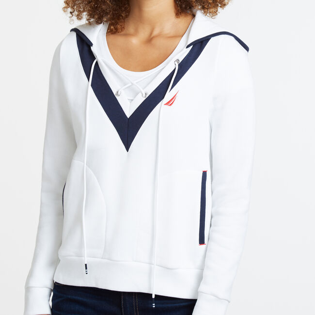 Lace-Up V-Neck Hoodie,Bright White,large