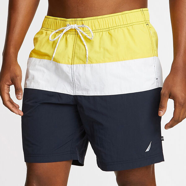 "8"" TRI-COLORBLOCK SWIM TRUNKS - Sun Fish Yellow"