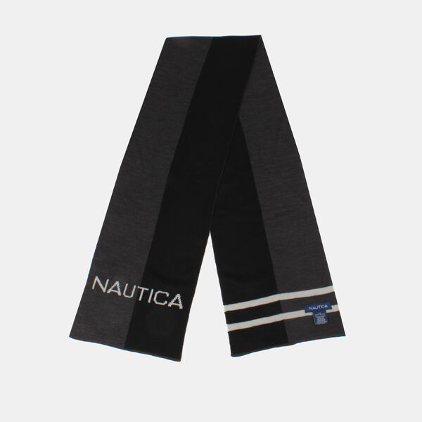 KIDS' COLORBLOCK LOGO KNIT SCARF - True Black