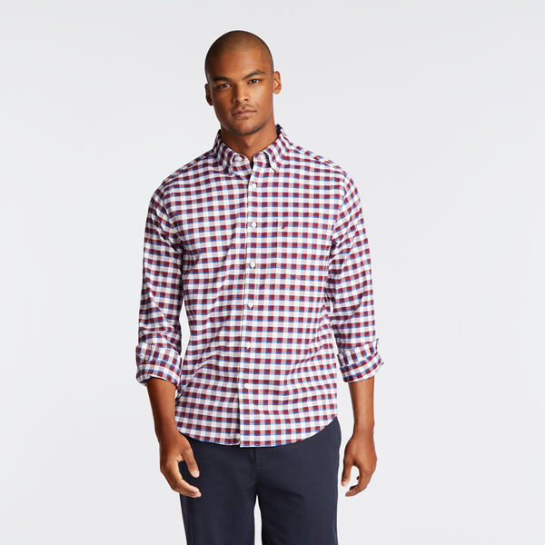 CLASSIC FIT STRETCH OXFORD IN PLAID - Zinfandel