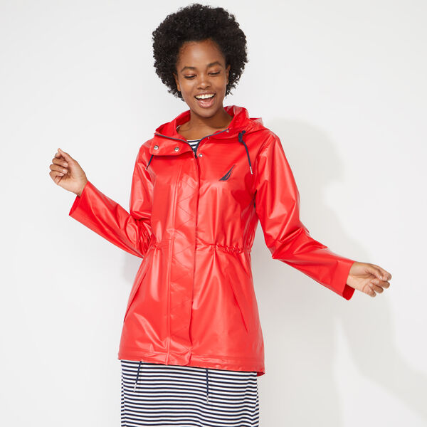 HOODED RAIN JACKET - Tomales Red