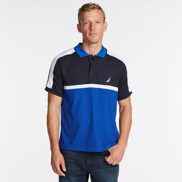BIG & TALL COLORBLOCK NAVTECH POLO - Pure Dark Pacific Wash