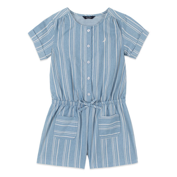 GIRLS' CHAMBRAY STRIPED ROMPER (8-20) - Nite Sea Heather