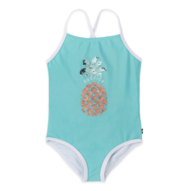 TODDLER GIRLS' PINEAPPLE FLIP SEQUIN ONE-PIECE SWIM (2T-4T),Wave Green,large