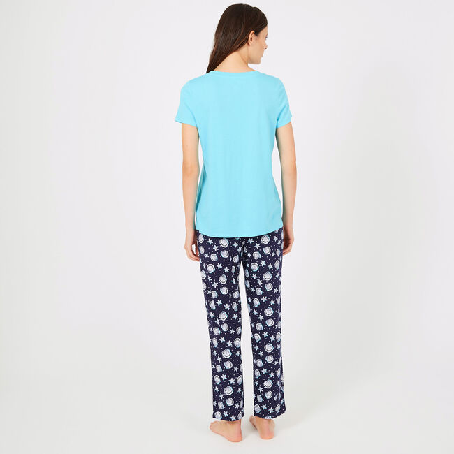Signature Graphic Tee + Starfish Pants PJ Set,Sapphire/Pitch Yellow,large