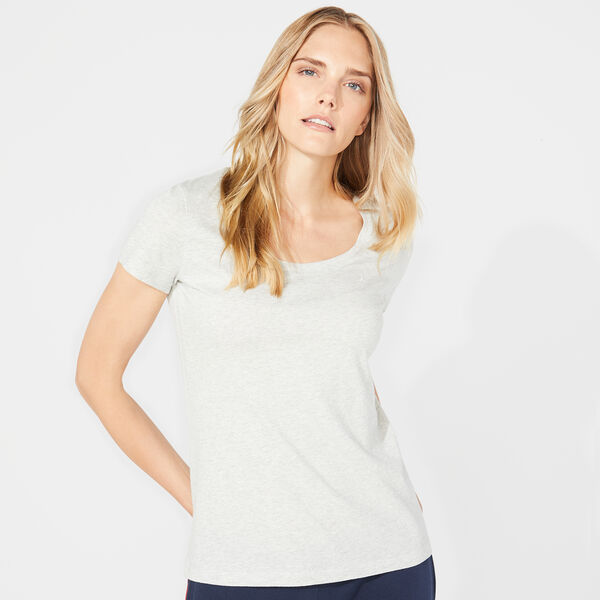 SOLID SCOOP NECK TEE - Haze Grey Heather