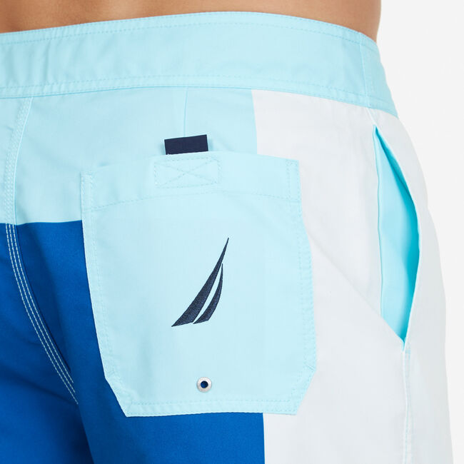 Quick-Dry Colorblock Board Shorts,Sapphire/Pitch Yellow,large