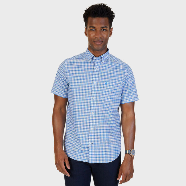 French Plaid Stretch Classic Fit Button Down,Blue Grass,large