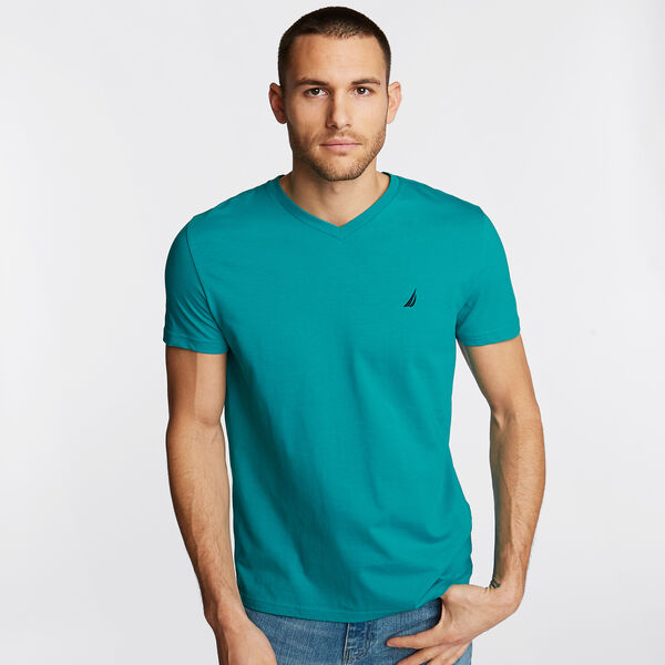 V-Neck Short Sleeve T-Shirt - Crisp Green