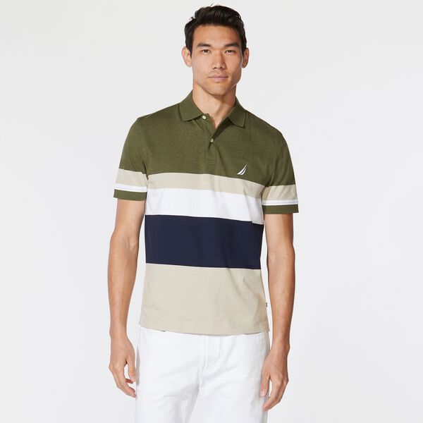 PREMIUM COTTON COLORBLOCK STRIPE POLO - Billiard