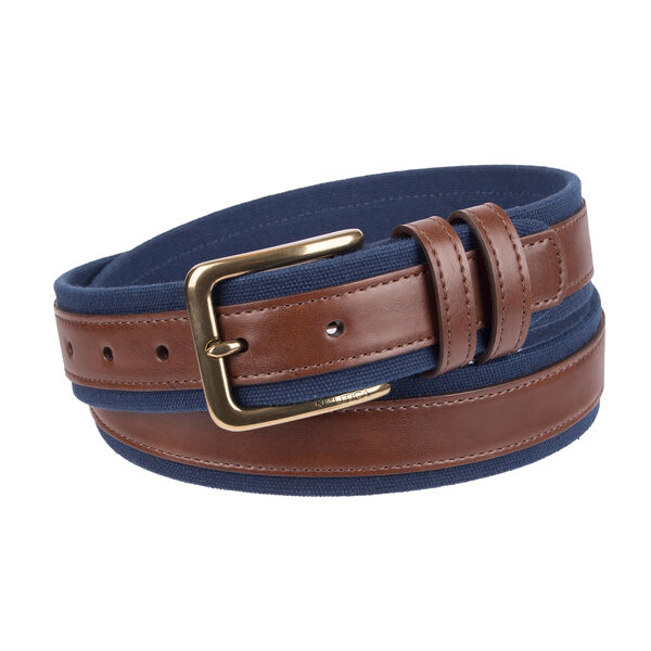 Canvas Belt With Leather Overlay - Brown Stone