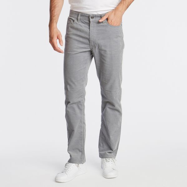 STRAIGHT FIT CORDUROY PANT WITH STRETCH - Seal Grey