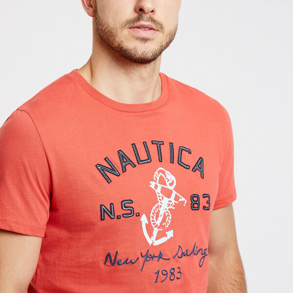 New York Sailing Anchor Crewneck Tee - Crimson