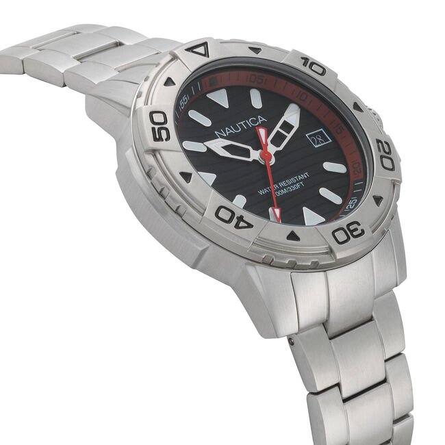 Edgewater Stainless Steel Watch,Black,large