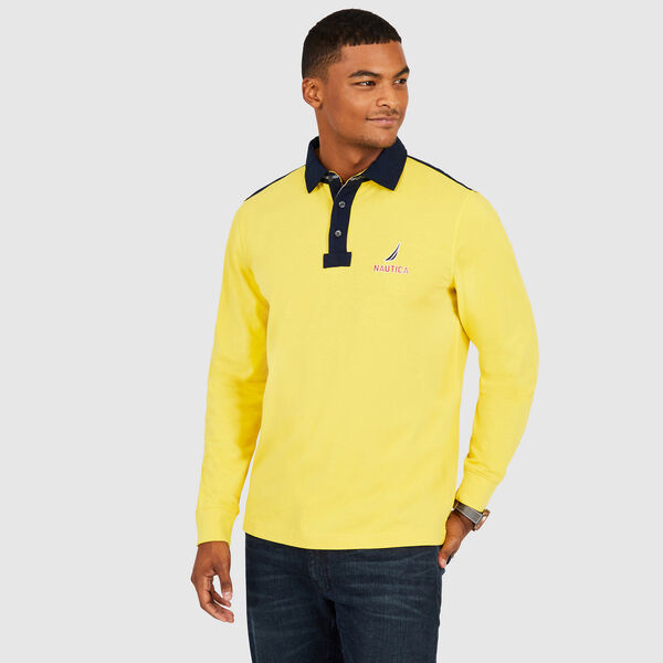 Chest Logo Classic Fit Long Sleeve Polo - Buoy Yellow