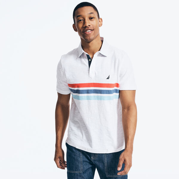 CLASSIC FIT CHAMBRAY COLLAR CHEST STRIPED POLO - Bright White
