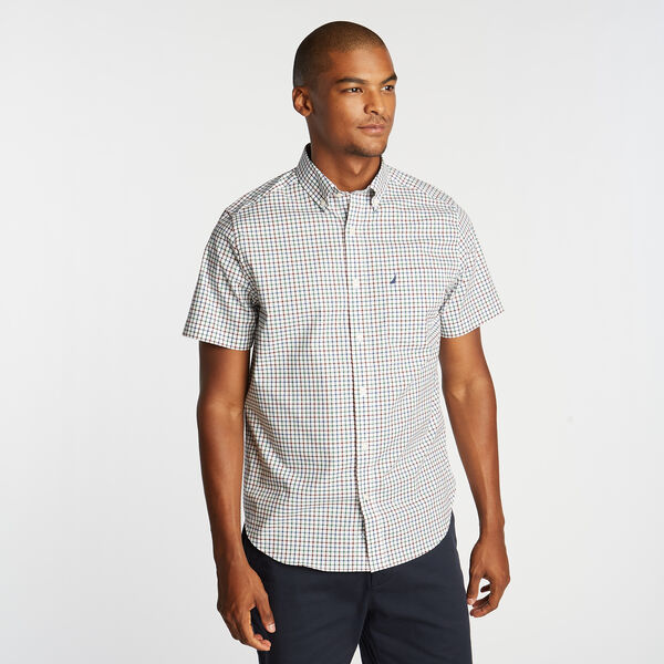 CLASSIC FIT WRINKLE RESISTANT SHORT SLEEVE SHIRT IN MINI TATTERSALL - Spruce