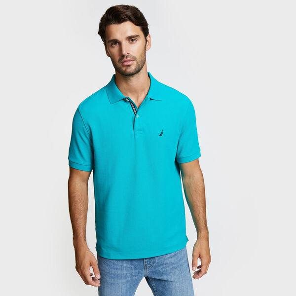 Classic Fit Solid Mesh Polo Shirt - Gulf Coast Teal