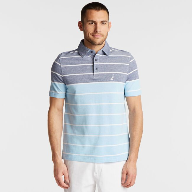 BIG & TALL OXFORD POLO IN MIXED STRIPE,Blue Depths,large