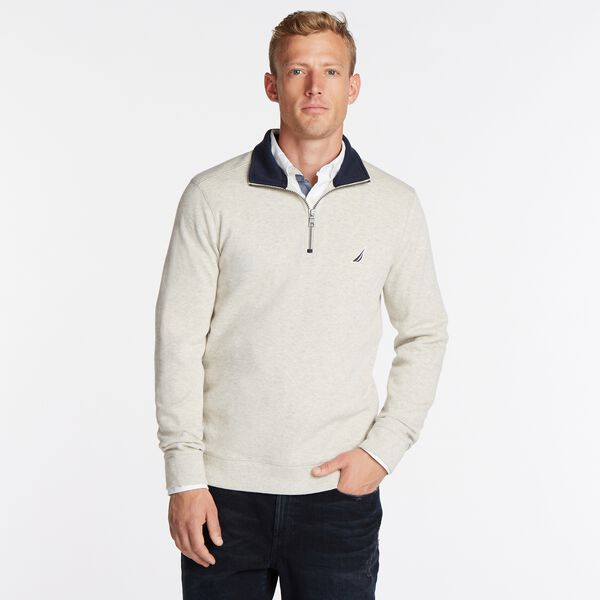J-CLASS QUARTER-ZIP PULLOVER - Oatmeal Heather