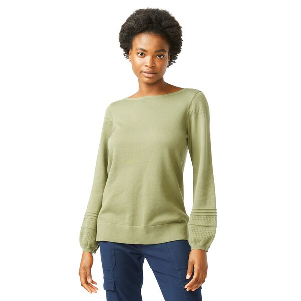 POINTELLE-KNIT BOAT NECK SWEATER - Teal Wave