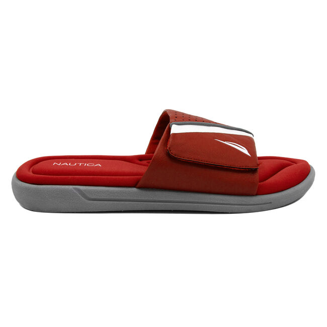 Montrell Slide Sandal in Red,Sunrise Red,large