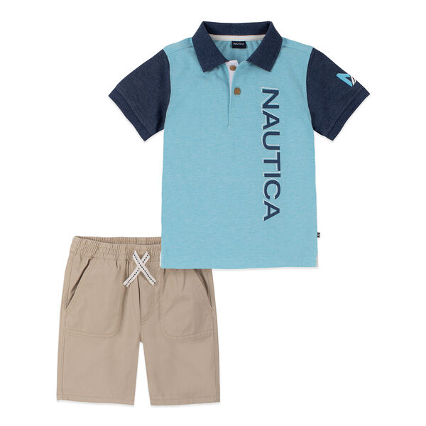 TODDLER BOYS' COLORBLOCK LOGO POLO 2PC SHORT SET (2T-4T) - Turquoise