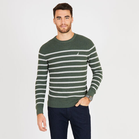 Navtech Breton Stripe Crewneck Sweater - Spinner Green