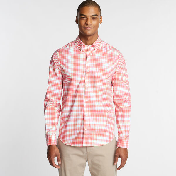 Wrinkle-Resistant Slim Fit Shirt in Plaid - Spiced Coral