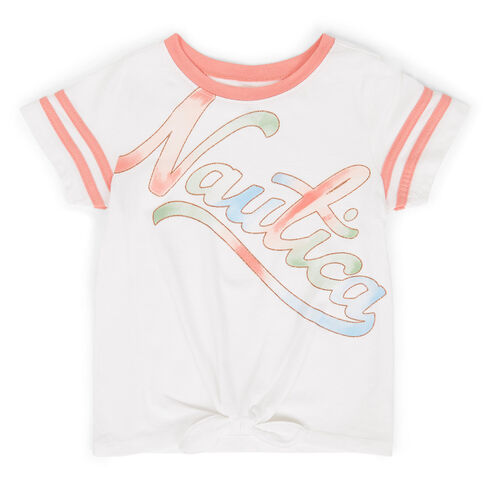 Little Girls' Logo Crewneck Athletic Tee (4-6X) - White