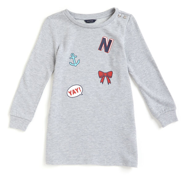 Toddler Girls' Patchwork Knit + Woven Dress (2T-4T) - Grey Heather
