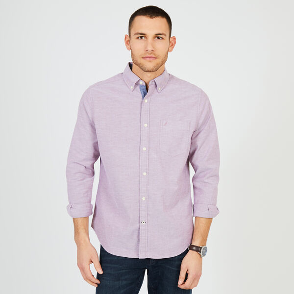 Big & Tall Stretch Oxford Classic Fit Shirt - Red Mahogoney