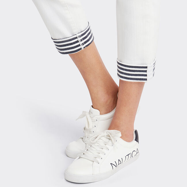 Stripe Cuff Pants,Sail White,large