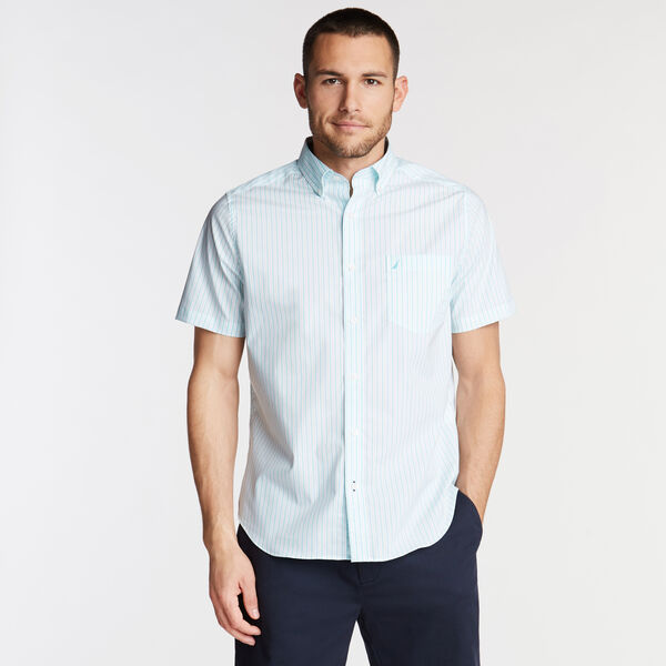 Wrinkle-Resistant Short Sleeve Classic Fit Shirt in Stripe - Sapphire