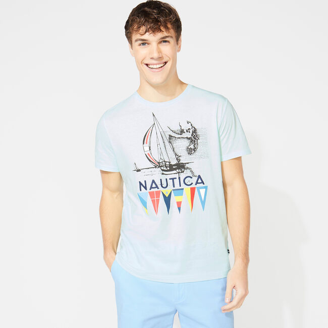 NAUTICA FLAGS GRAPHIC T-SHIRT,Aquabreeze,large