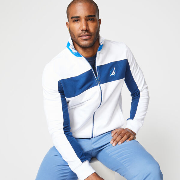 CLASSIC FIT COLORBLOCK FULL ZIP  - Bright White