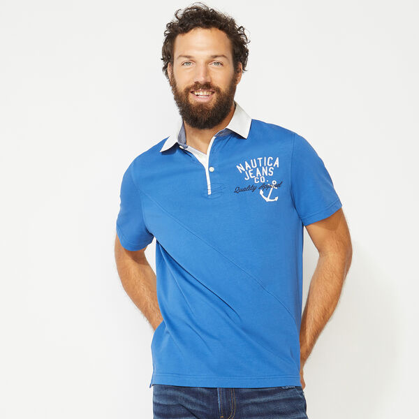 NAUTICA JEANS CO. EMBROIDERED POLO - Windsurf Blue