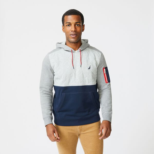 COLORBLOCK QUILTED PULLOVER HOODIE - Stone Grey Heather
