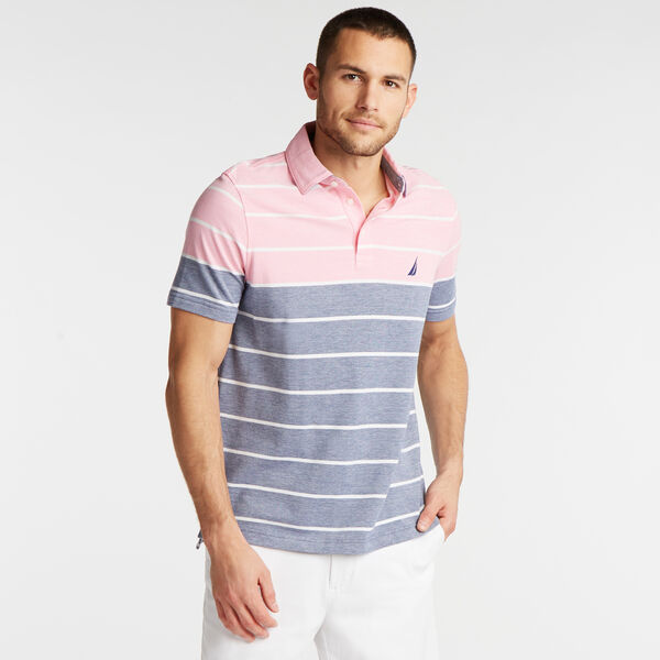 CLASSIC FIT OXFORD POLO IN VARIEGATED STRIPE - Carnation Pink