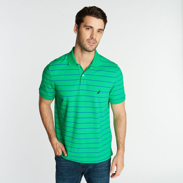 CLASSIC FIT MESH POLO IN STRIPE - Floating Moss