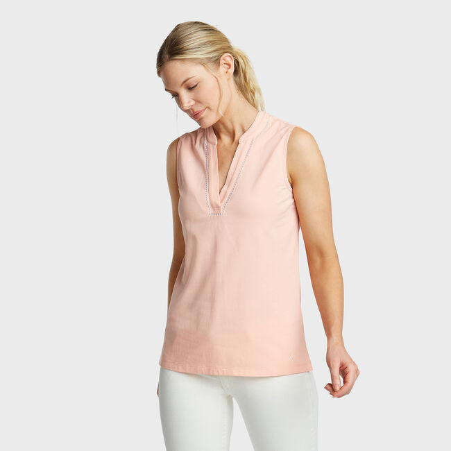 Sleeveless Knit Top,pink,large