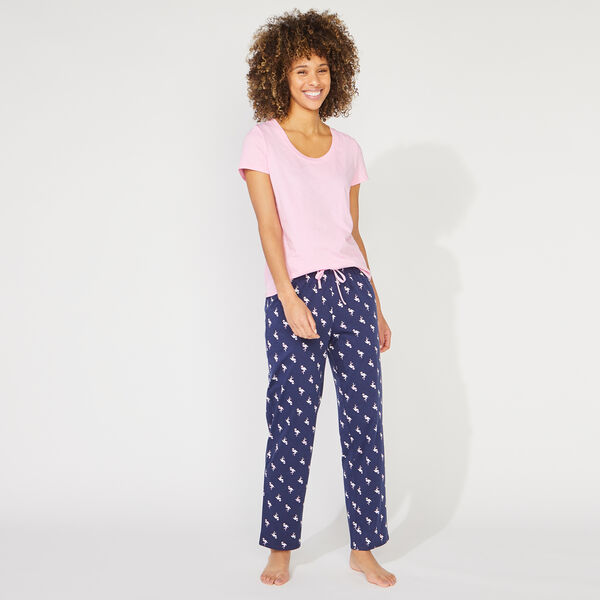 FLAMINGO PRINT SHORT SLEEVE PAJAMA SET - Starlight Blue