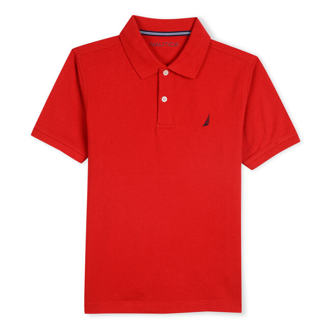 LITTLE BOYS' STRETCH DECK POLO (4-7),Melonberry,large