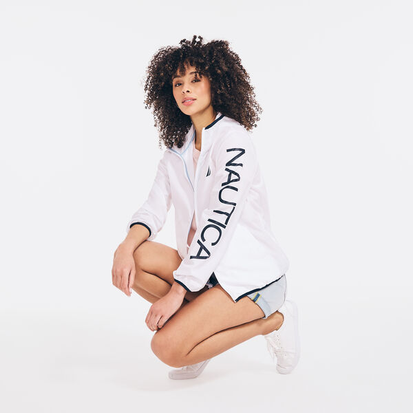 PACKABLE LOGO GRAPHIC HOODED WINDBREAKER - Bright White