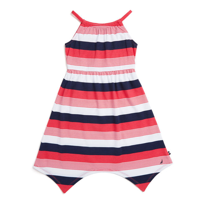 Toddler Girls' Yarn Dyed Stripe Handkerchief Hem Dress (2T-4T),Buoy Red,large
