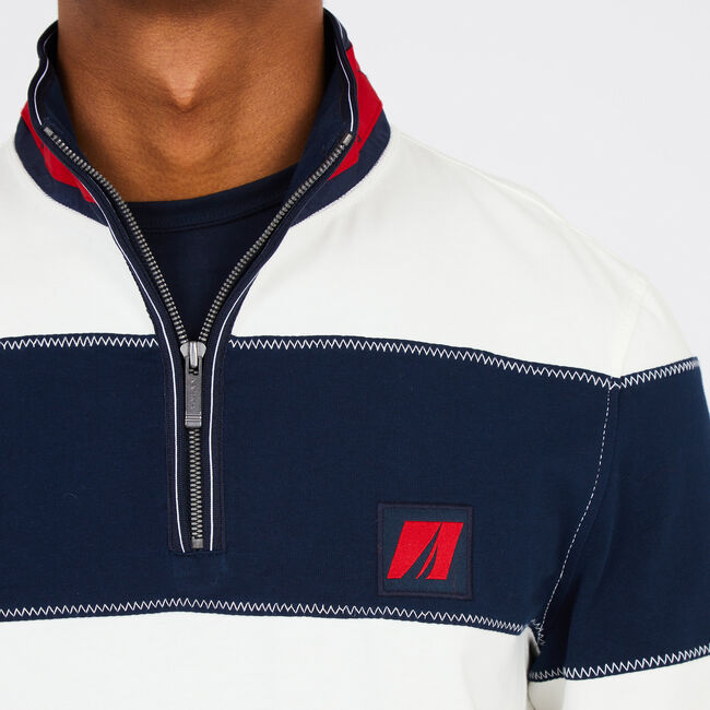 Long Sleeve Active Fit Heritage Quarter-Zip Pullover,Marshmallow,large