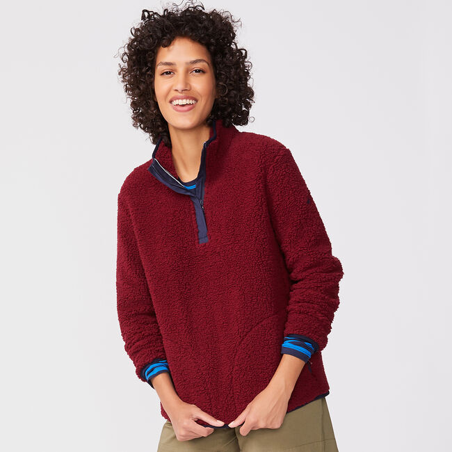 QUARTER-ZIP SHERPA PULLOVER,Classic Red,large