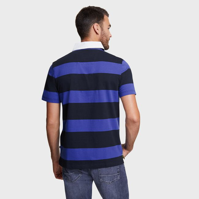 Big & Tall Stripe Shipman Polo,Navy,large